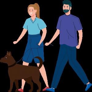 Ilustração de uma família passeando com um cachorro